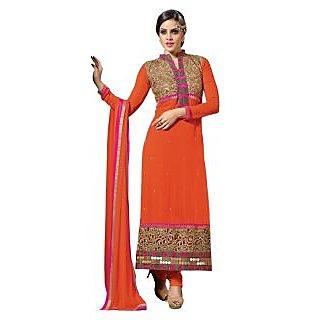 Triveni Entrancing Orange Colored Embroidered Faux Georgette Salwar Kameez (Unstitched)