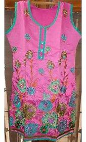 Pink embroided fancy kurti