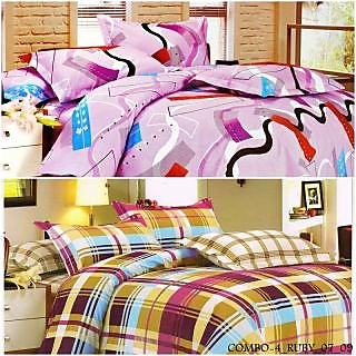Valtellina Polycotton  Abstract Double Bedsheets (COMBO-4_RUBY_07_09)
