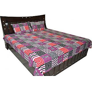 FabBig Multi Color Zebra  Printed Cotton Double Bedsheet With 2 Pillow Cover