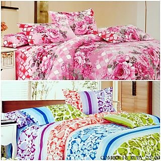 Valtellina Polycotton FloralwithAbstract DoubleBedsheets(COMBO-16_RUBY_02_06)