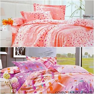 Valtellina Polycotton DottedwithAbstract DoubleBedsheets (COMBO-18_RUBY_016_027)