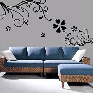 Walltola PVC Black Abstract Wall Sticker   Bedroom Design Art 7043 (150x100  Cms) (