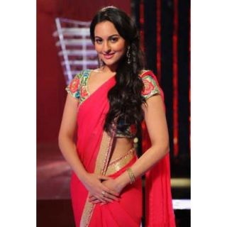 Sonakshi Sinha In Hot Pink Designer Saree Replica With Heavy Blouse