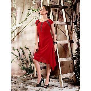 Magnum Opus Store Red Color Viscose Georgette Kurti.