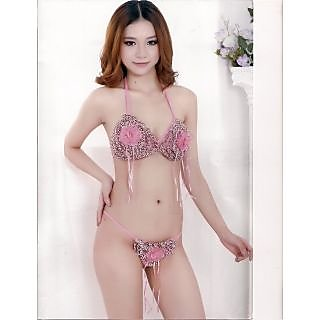 0bf96cd458a76 Womens Sexy Pink Bikini Set 2pc Bra Panty Set Bed   Night wear Fun Lingerie  Set G-String Funky Pattern Stunning H-53 Gurlz Fun Set