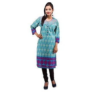 Rash Collection Turquoise Embroidered Round Neck 3/4 Sleeves Long Kurti