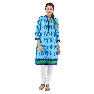 Rash Collection Turquoise Plain Cotton Collar Neck 3/4 Sleeves Long Kurti