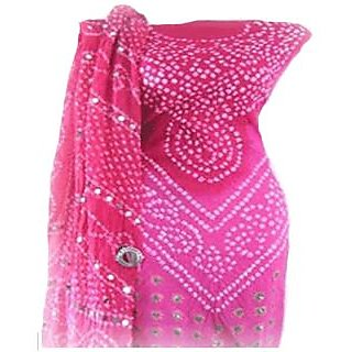 Pink Bandhej Suit Material