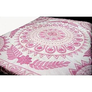 White Bed Sheet With Flower Design