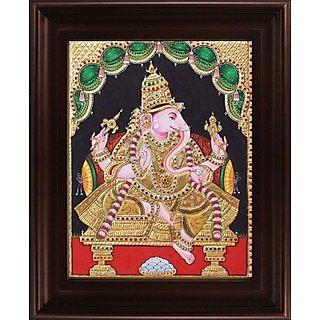Myangadi Right Sideface Ganesha Tanjore Painting Myaz022-S4