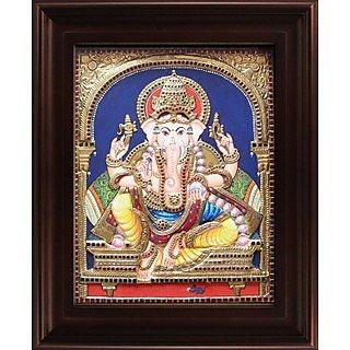 Myangadi Mantap Ganesha Tanjore Painting Myaz027-S2