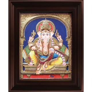 Myangadi Mantap Ganesha Tanjore Painting Myaz027-S6