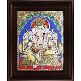 Myangadi Mantap Ganesha Tanjore Painting Myaz028-S3