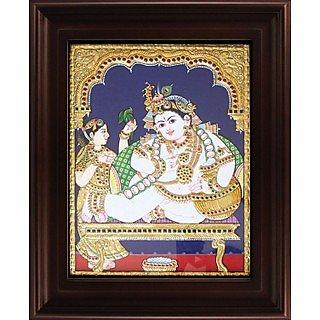 Myangadi Butter Krishna Tanjore Painting Myaz047-S4