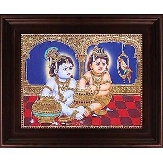 Myangadi Butter Krishna With Balaram Tanjore Painting Myaz050-S8