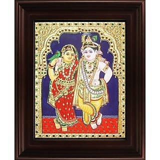 Myangadi Krishna Rukmani Tanjore Painting Myaz079-S11
