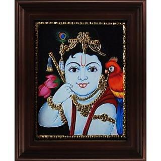 Myangadi Face Krishna With Parrot Tanjore Painting Myaz056-S2