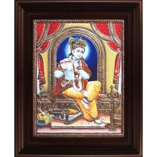 Myangadi Flute Krishna Tanjore Painting Myaz057-S8
