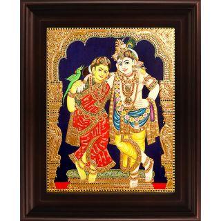 Myangadi Krishna Rukmani Tanjore Painting Myaz077-S3