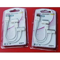 USB Male To 30 Pin Apple Connector/ Mini USB / Micro USB Charging Cable WHITE