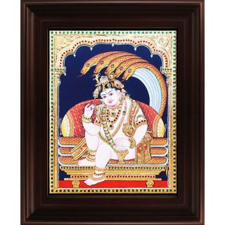 Myangadi Krishna With Snake Tanjore Painting Myaz066-S8
