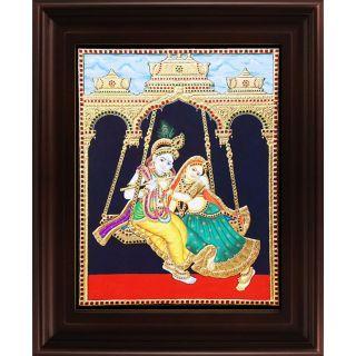 Myangadi Swinging Radha Krishna Tanjore Painting Myaz085-S5
