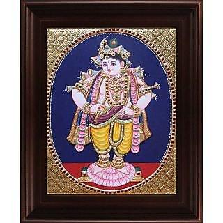 Myangadi Vittoba Krishna - Oval Tanjore Painting Myaz071-S10