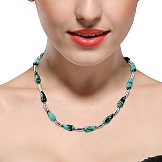 Pearlz Ocean Turquoise Corset Mosaic & Alloy Beads 18 Inches Necklace