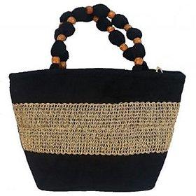 Benison Silk  Hand held Bag (Black)