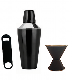3 pc Black Color bar set - Cocktail Shaker, Double sided Peg measure and Bottle Opener