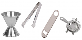 4 pcs bar set - ice tong, peg measure, bottle opener, strainer