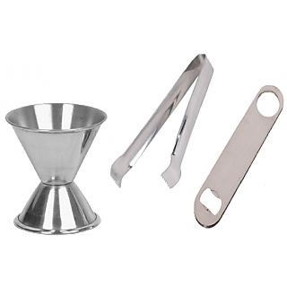 3 pcs bar set - ice tong peg measure bottle opener