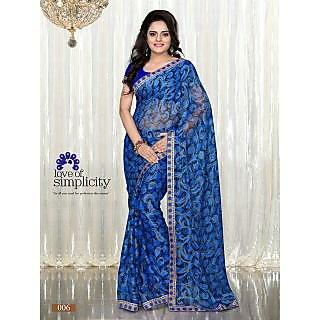 Blue Colour Printed Brasso Pattern Designer Saree With Designer Blouse Piece
