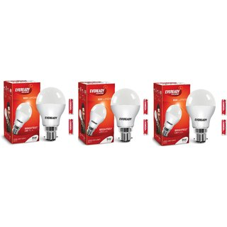 Eveready 9W Cool Day Light pack of 3 With 6 Pc 1015 AA Battery Free