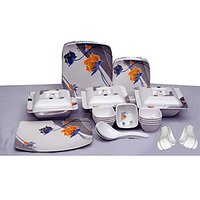 Geeta Diamond Sqaure 44 Pcs Melamine Dinner Set LE-GDS-002, multicolor