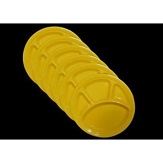 Set Of 100 Pcs Trendy Round Section Plate - Yellow Colour