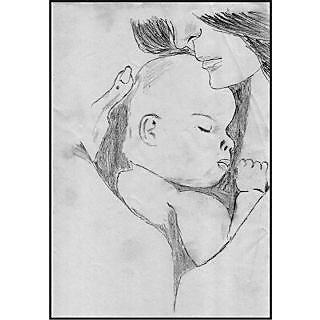 sketch of mother holding child