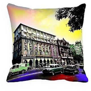 Mesleep City Digitally Printed Cushion Cover (16X16)   Lustrous