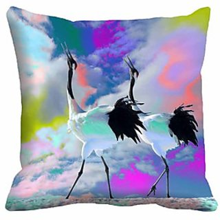 Mesleep Bird Crane Digitally Printed  16X16 Inch Cushion Cover Elegant