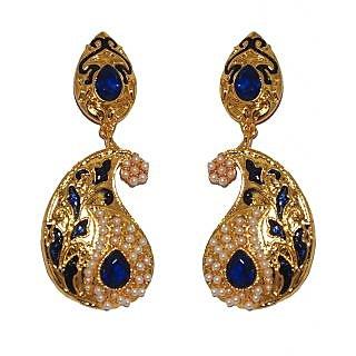 Kriaa Stunning Blue Meenakari  Earrings  -  1103119