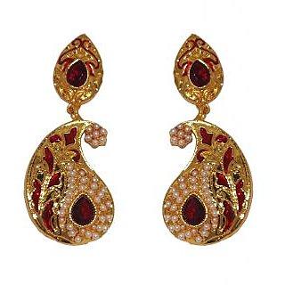 Kriaa Elegant Red Meenakari Earrings  -  1103120