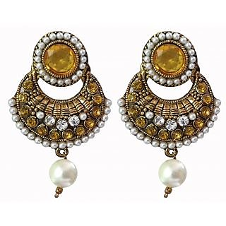 Designer Bollywood Style Antique Yellow Earrings - 10022