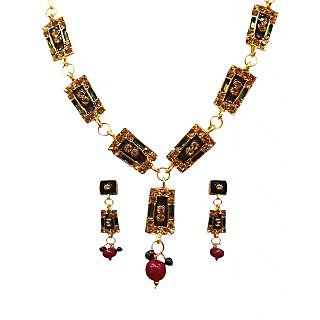 14Fashions Design Necklace Set in Maroon & Green - 1100814
