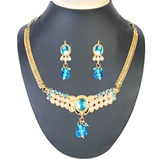 14Fashions Semi Necklace Set in Blue 1101006