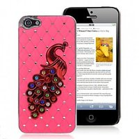 PEACOCK RHINESTONES METAL BACK COVER FOR IPHONE 5 / 5S - PINK