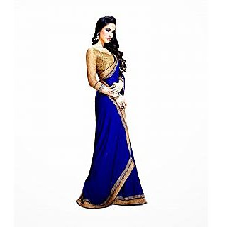 FabPandora Women's Blue Semi Chiffon Saree With Blouse Piece