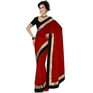 FabPandora Women's Red Semi Chiffon Saree With Blouse Piece