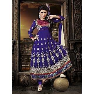 Georgette Thread Work Blue Semi Stitched Long Anarkali Suit (STY-146-2002 A)