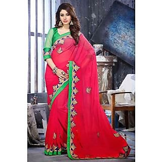 EthnicBasket Pink Lovely Embroidered Saree